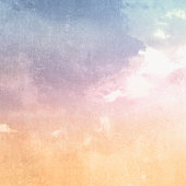 istock Watercolor background with abstract retro sky texture in pastel colors 1269463595