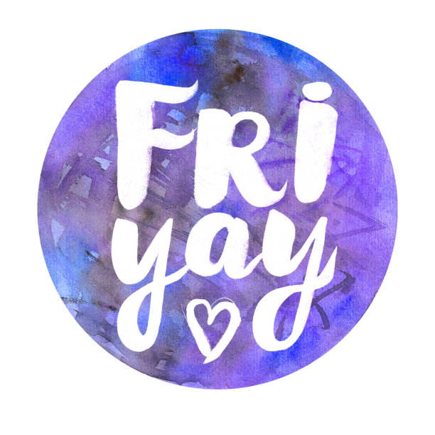 Watercolor badge with text: Friyay Abstract watercolor round design with lettering stock photo