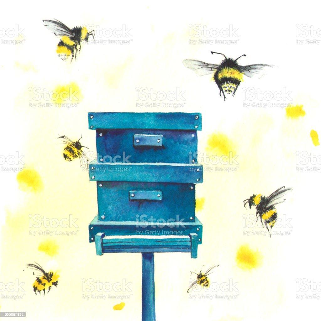 Abeilles et ruche aquarelle - Photo