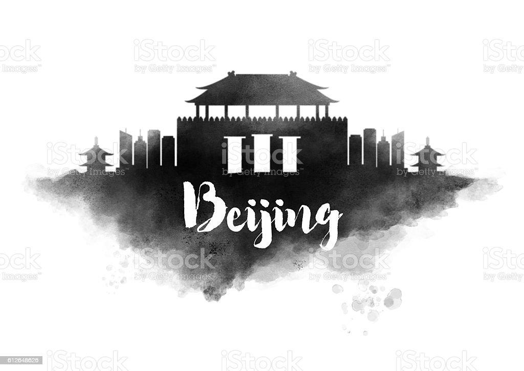 Watercolor Beijing City Skyline stock photo