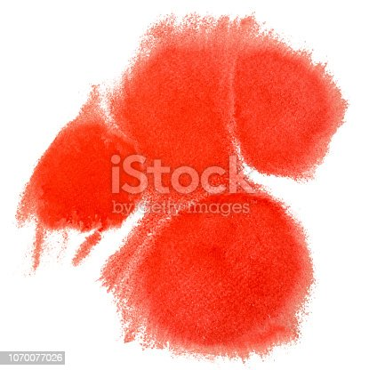 istock Watercolor blot isolated on white background. Red watercolor hand painting background and backdrop for your design. 1070077026
