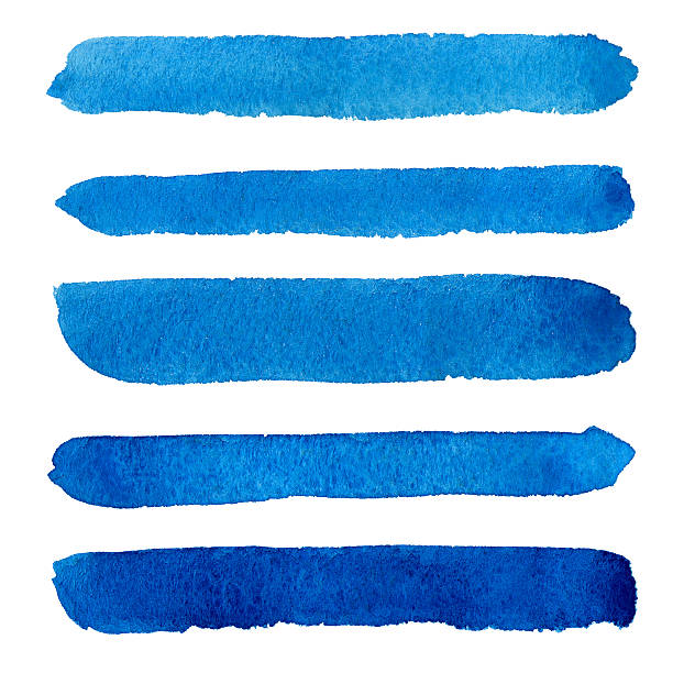 Watercolor blue brush strokes background design stock photo