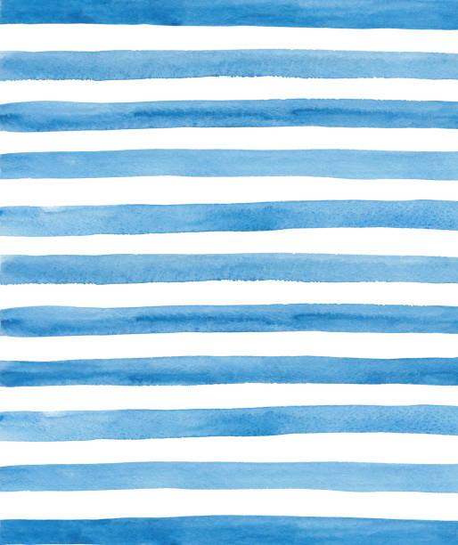 Watercolor blue stripes background stock photo