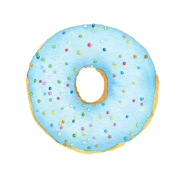 Watercolor blue with decorative sprinkles donut stock photo