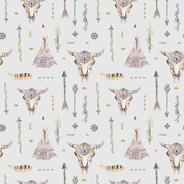 watercolor boho seamless pattern with teepee, arrows, feathers, - animal markings stock photos and pictures