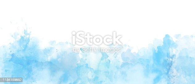 istock Watercolor border isolated on white, light blue colors artistic background 1134159852