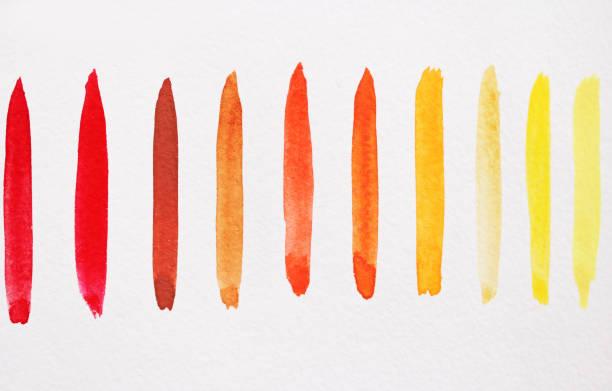 白い背景の水彩画の明るいストリップ。水彩絵の具の赤、黄色、オレンジ色のストリップ ストックフォト