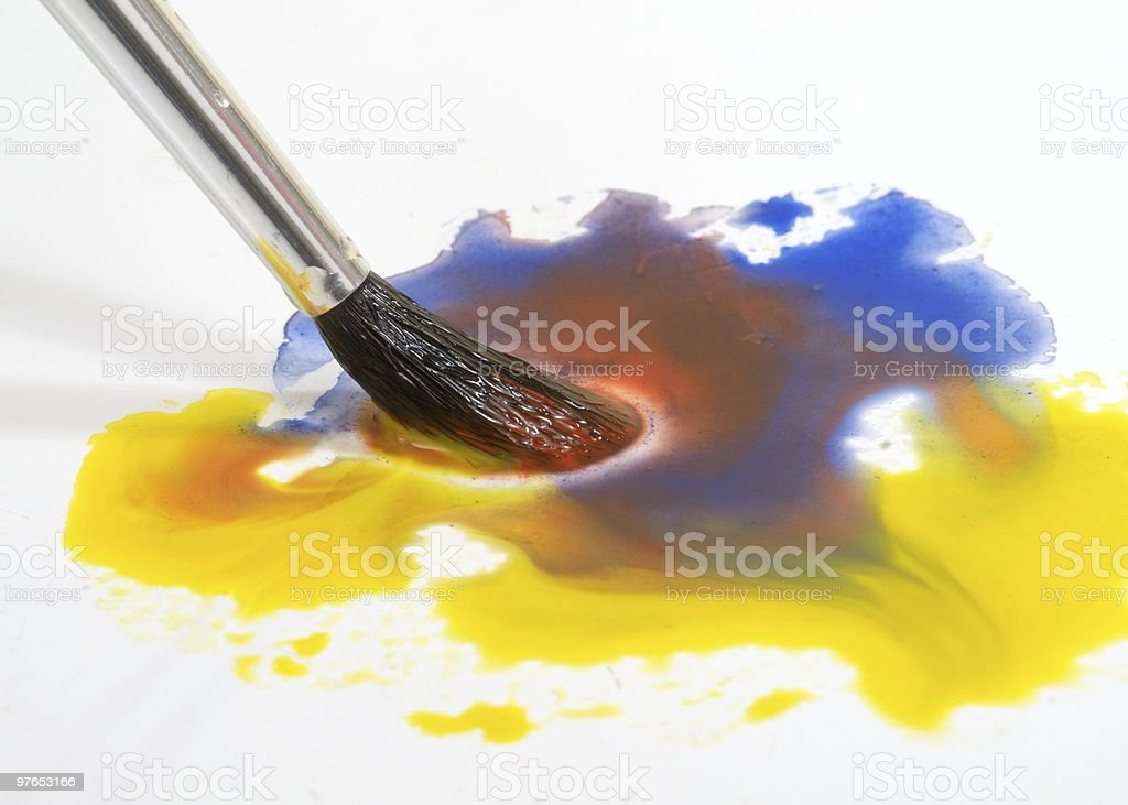 Watercolor brush and paint royalty-free stock photo
