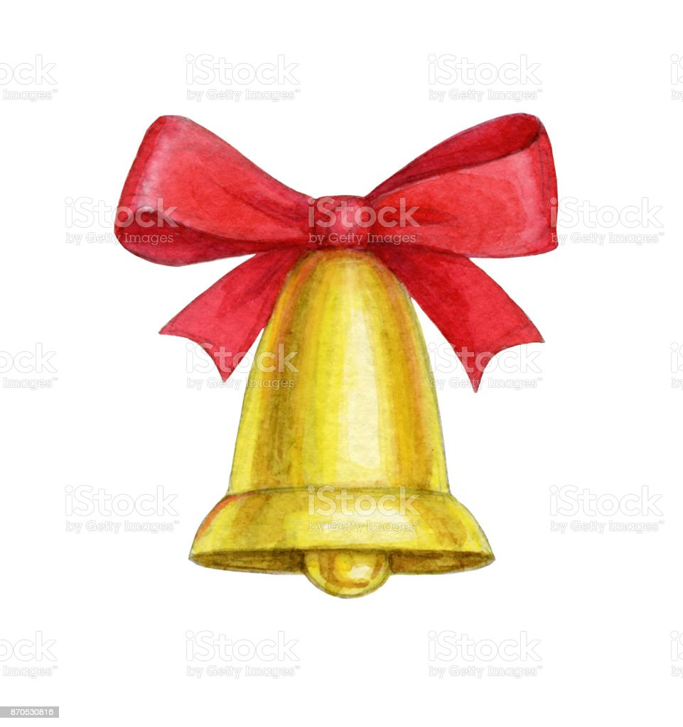 Watercolor christmas bell stock photo