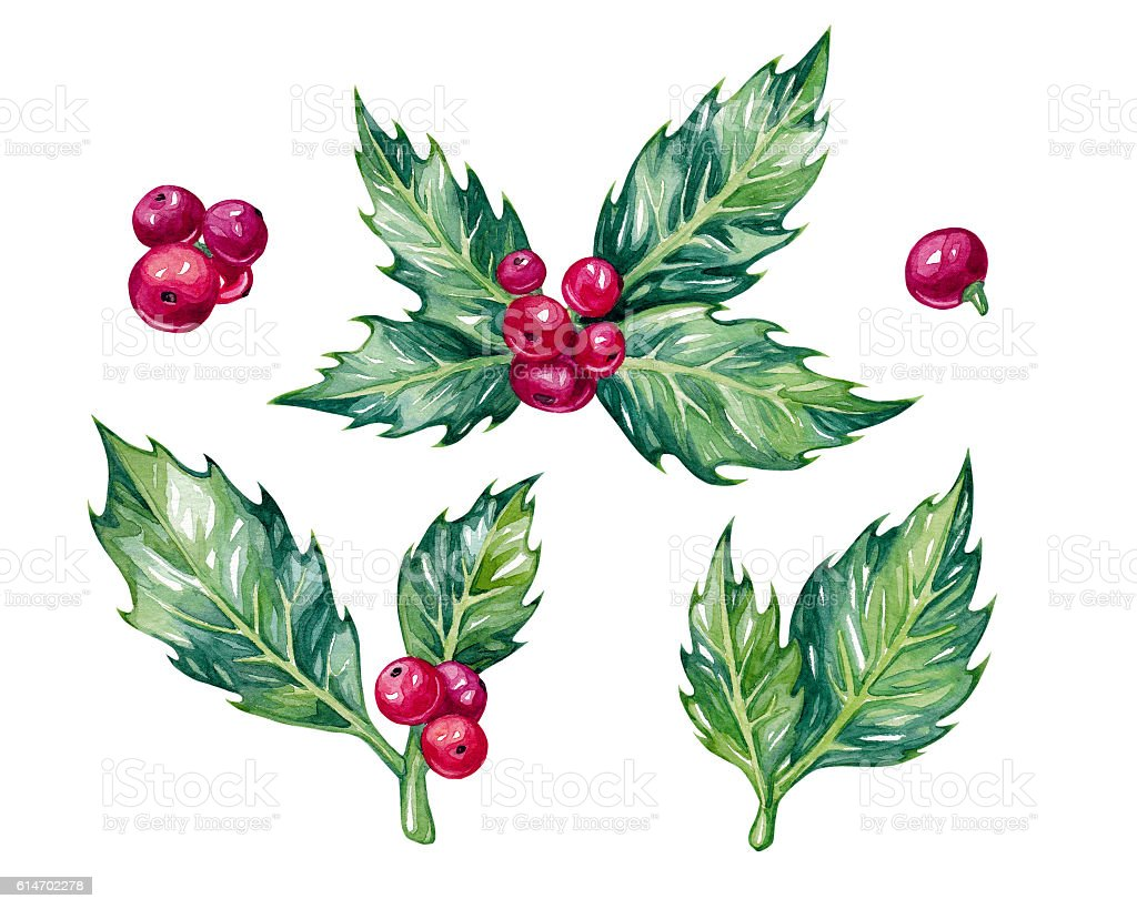Watercolor christmas set. stock photo