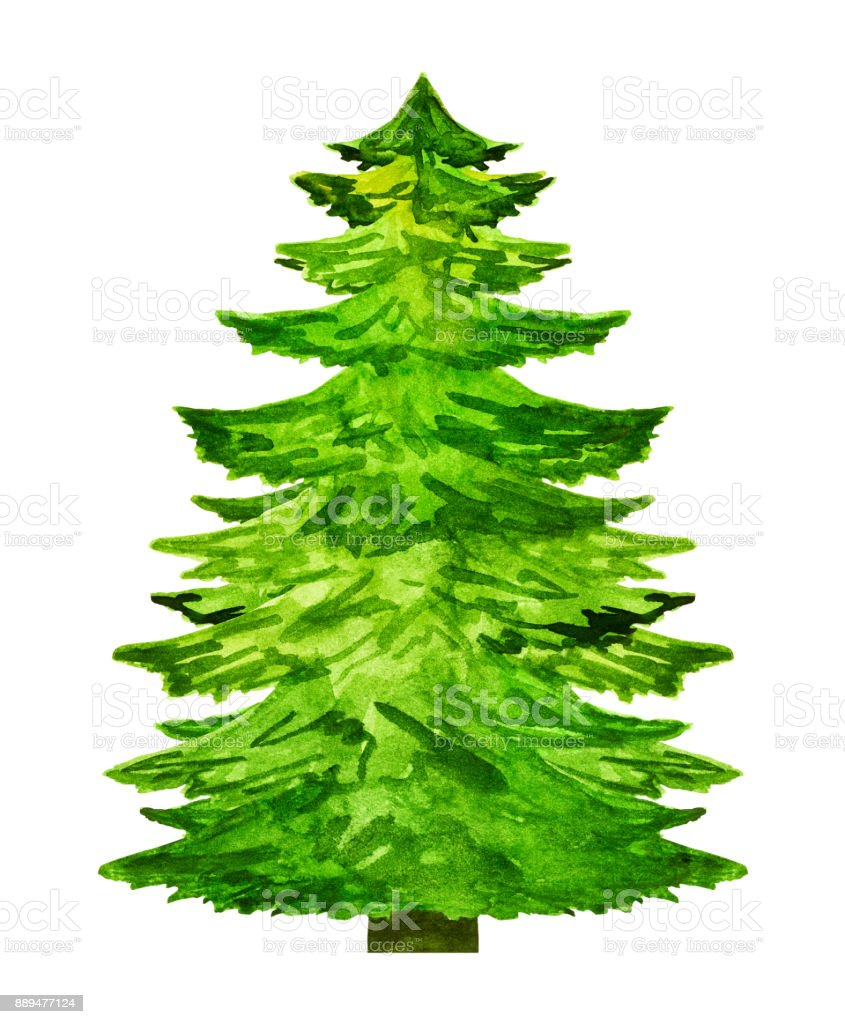 Watercolor Christmas Tree Silhouette Isolated On White Background