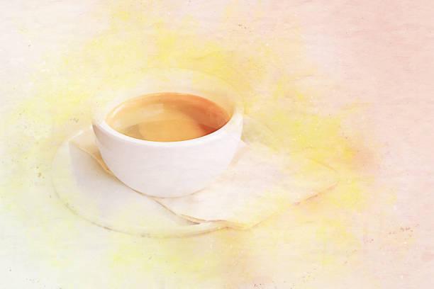 aquarell kaffee tasse kunst. hintergrund-vintage-stil - handbemalte teller stock-fotos und bilder