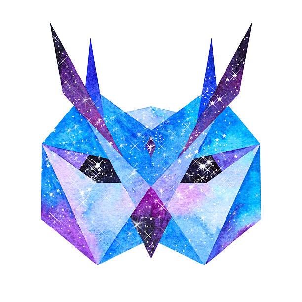 watercolor cosmic animals. hand drawn illustration - eule zeichnung stock-fotos und bilder
