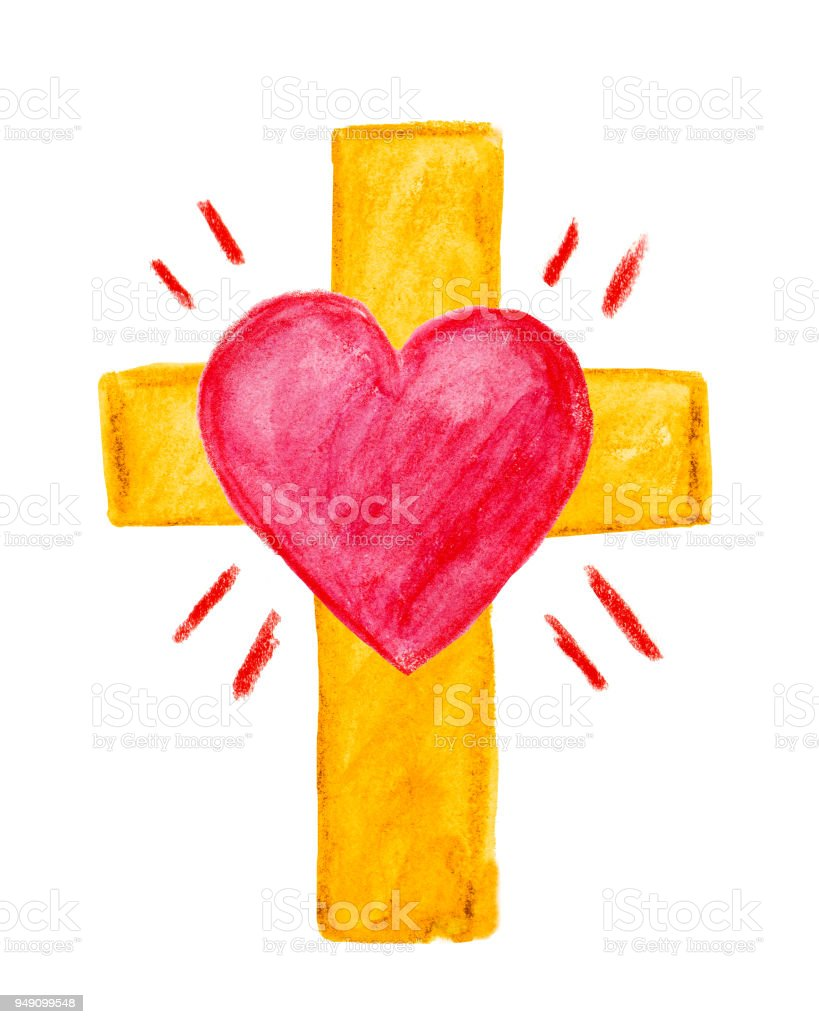 Watercolor Cross with Heart royalty-free stock photo
