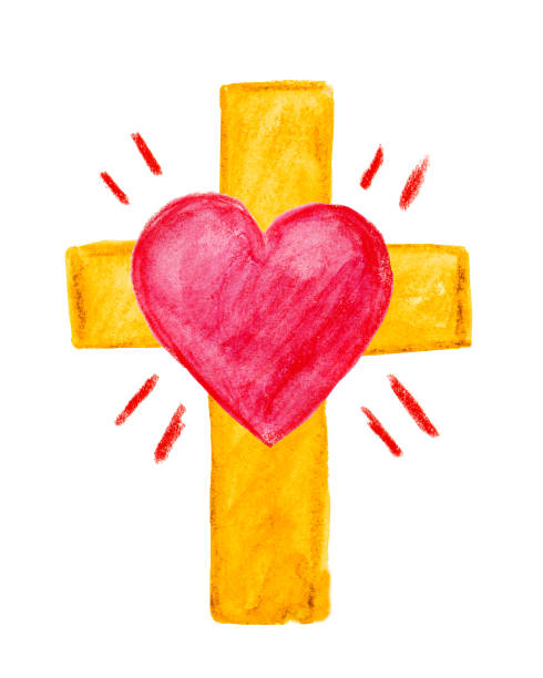 Watercolor Cross with Heart stock photo