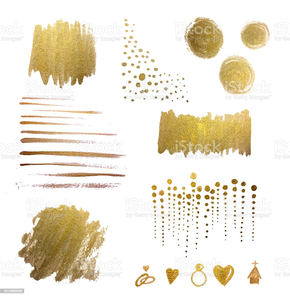 Watercolor Design Elements and Backgrounds, Gold, Hand-painted, Metallic, Watercolor Brush Strokes stock photo