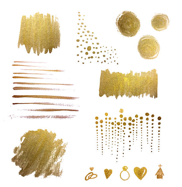 Watercolor Design Elements and Backgrounds, Gold, Hand-painted, Metallic, Watercolor Brush Strokes Watercolor Design Elements, Gold, Hand-painted, Watercolor Brush Strokes, Hand-painted. Shiny metallic gold leaf design elements on watercolor paper. Circles, Stripes, Brush strokes, dots, polka dots, lines, wedding icons, and paint areas. Metallic look, abstract shapes, hand-painted with gold leaf liquid metallic paint. Awesome use in wedding invitations, event invitations, and advertising. Gold, shiny, metallic, textured background design element.  brush stroke stock pictures, royalty-free photos & images