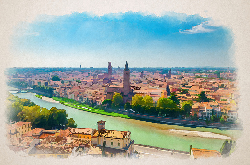 Watercolor drawing of Aerial view of Verona historical city centre, Adige river, church Basilica di Santa Anastasia tower, medieval buildings with red tiled roofs