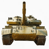 Watercolor drawing soviet tank T-72 Ural - main battle tank production of the USSR