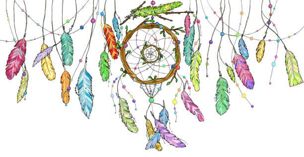 aquarell traumfänger mit leuchtend bunten federn im wind schwingen. - traumfänger zeichnung stock-fotos und bilder
