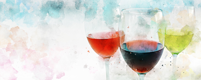 Three glasses of wine on colorful background with copy space. Watercolor effect applied.