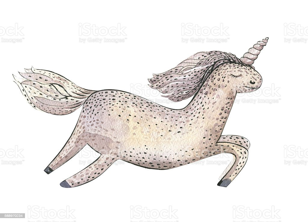 Watercolor fairy tale card with magic unicorn isolated on white. stock photo