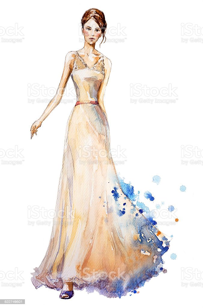 Watercolor fashion illustration, girl in a long dress. vector art illustration
