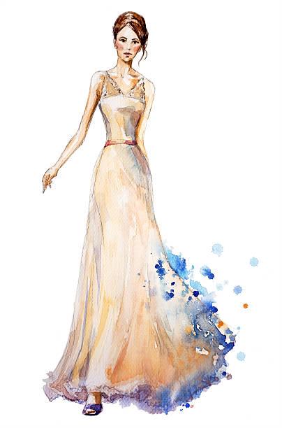 aquarelle illustration de mode fille dans une longue robe. - croquis de stylisme de mode photos et images de collection