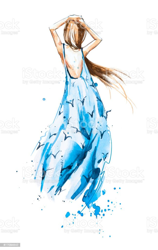 Watercolor fashion illustration, girl in a summer dress looking in the distance stock photo