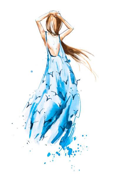 illustration de la mode aquarelle, jeune fille dans une robe d'été à la recherche dans le lointain - croquis de stylisme de mode photos et images de collection