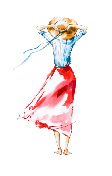 Watercolor fashion illustration, girl looking in the distance stock photo