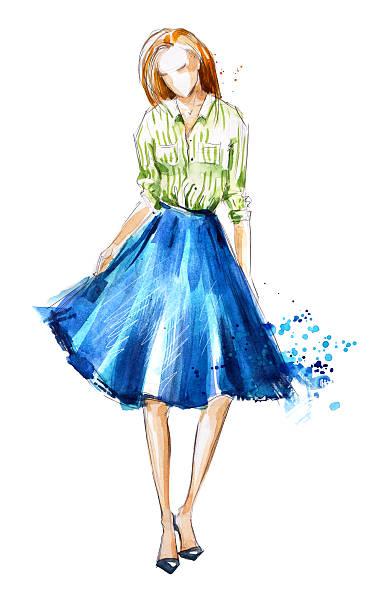 watercolor fashion illustration, hand painted - croquis de stylisme de mode photos et images de collection