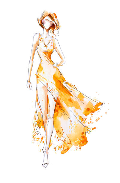 watercolor fashion illustration, model in a long dress - illustrations stock photos and pictures