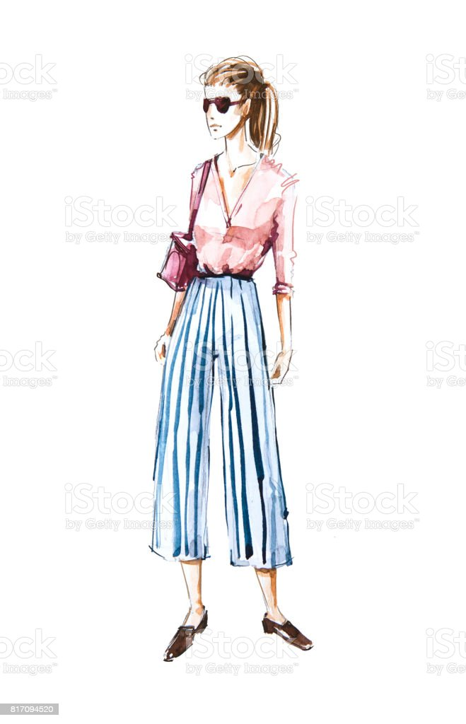 Watercolor Fashion Illustration Street Style Stock Photo