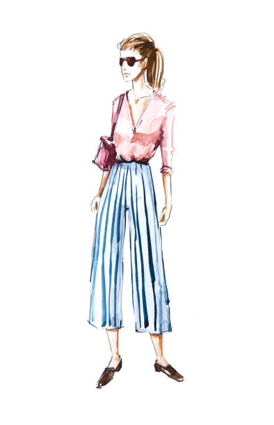 Watercolor fashion illustration, street style stock photo