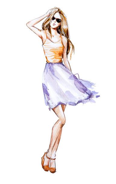 illustration aquarelle mode, look estival - croquis de stylisme de mode photos et images de collection