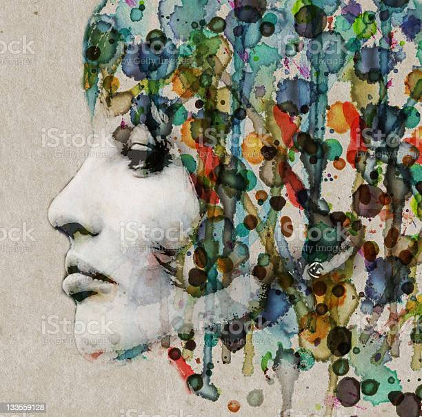 Watercolor Female Profile Stock Photo - Download Image Now