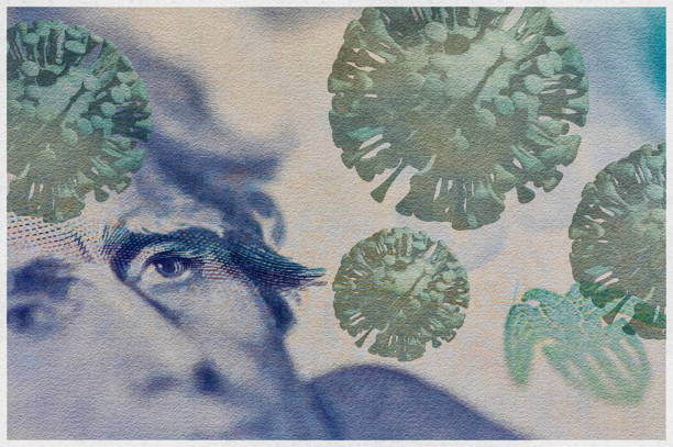 Watercolor filtered American twenty dollar bill, on which 3D rendered COVID- 19 virus has been applied. stock photo
