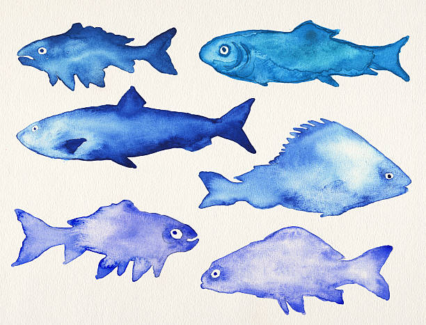 Watercolor fishes stock photo