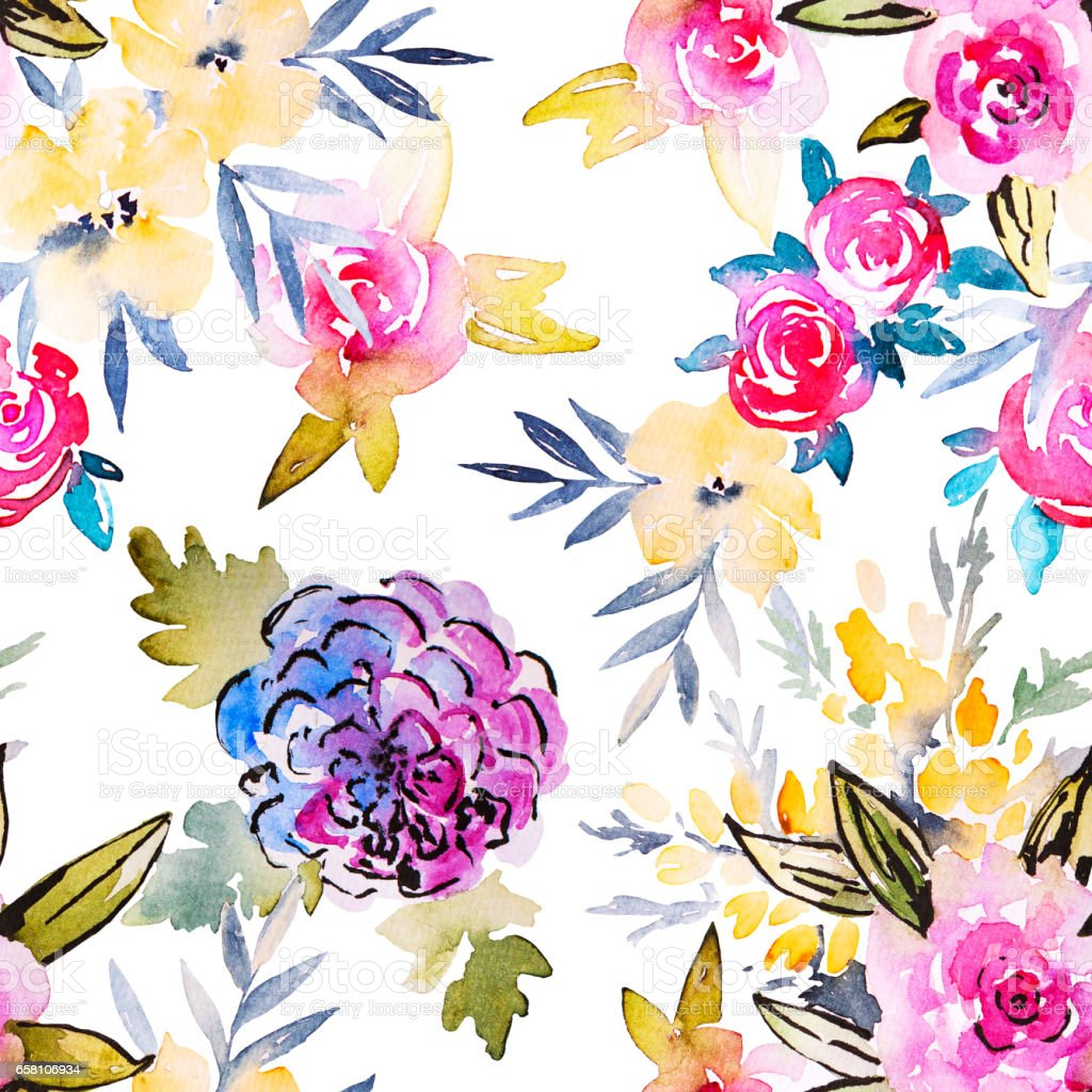 Watercolor floral botanical seamless pattern. Good for printing royalty-free stock photo