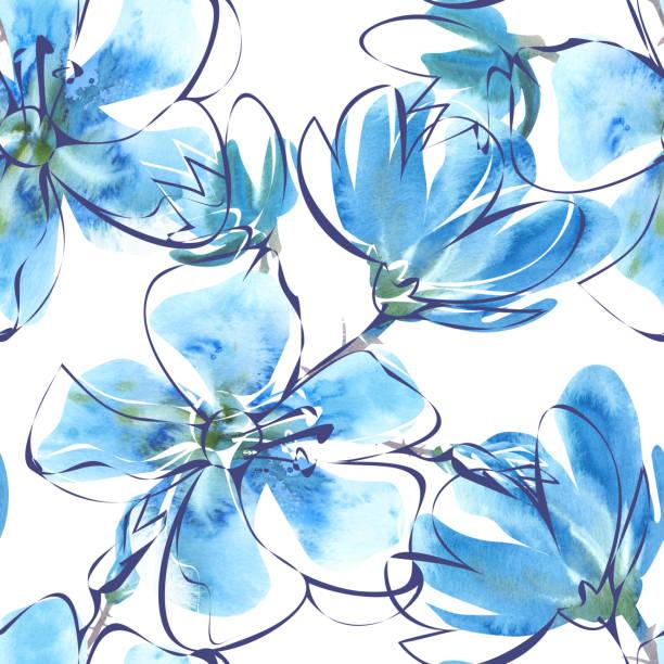 水彩花柄シームレスなパターンです。 ストックフォト