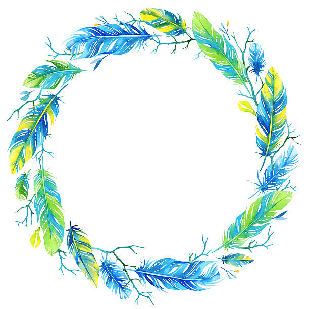 Watercolor floral wreath with feathers stock photo