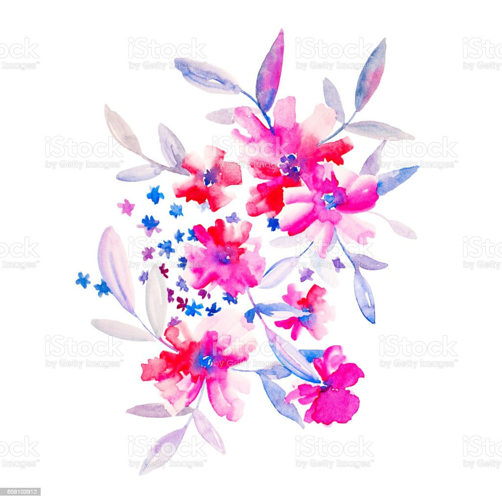 Watercolor flowers illustration. Isolated composition. Good for royalty-free stock photo