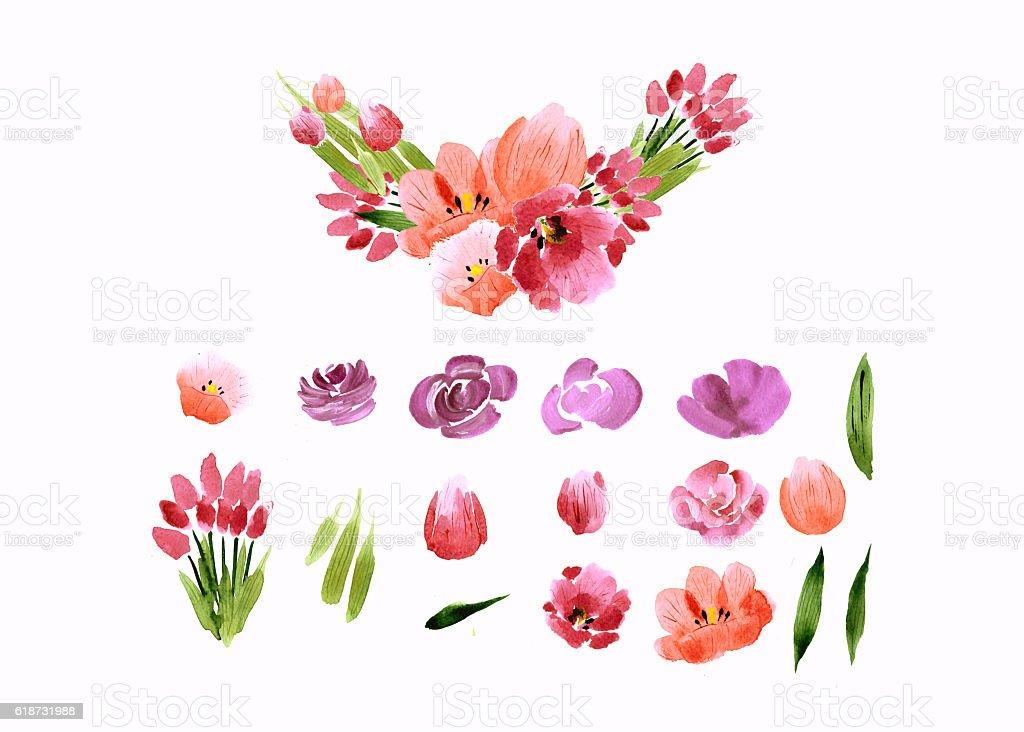 Aquarell Blumen Rosen Pfingstrosen-Kollektion – Foto