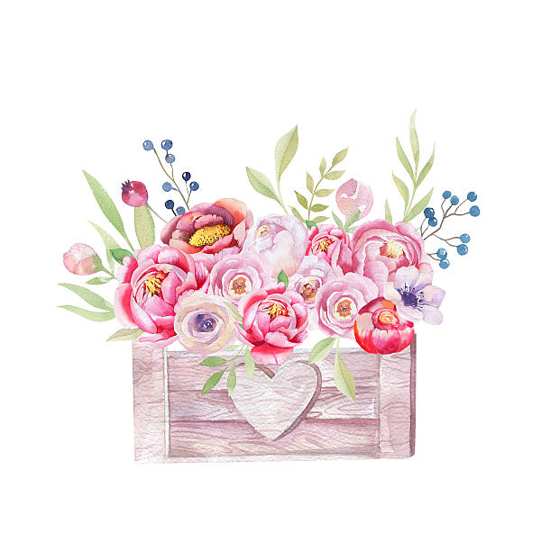 Watercolor flowers wooden box. Hand-drawn chic vintage garden rustic stock photo
