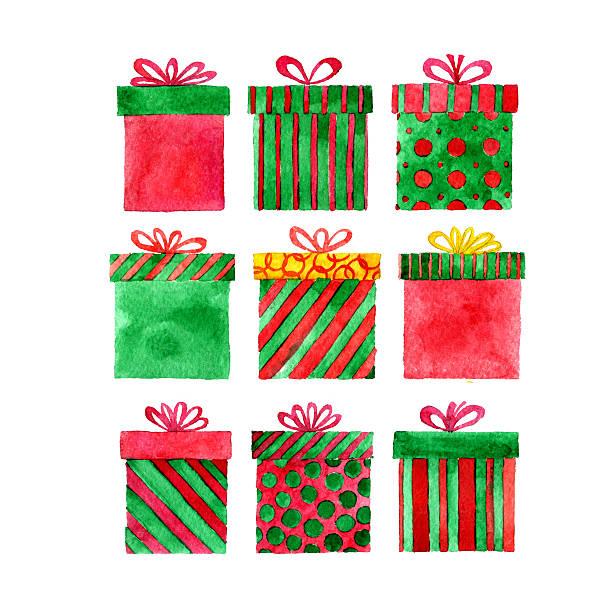 watercolor gift boxes - アイコン プレゼント ストックフォトと画像