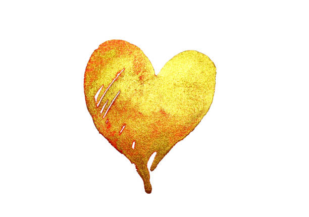 Aquarell goldenes Herz auf weißem Hintergrund – Foto