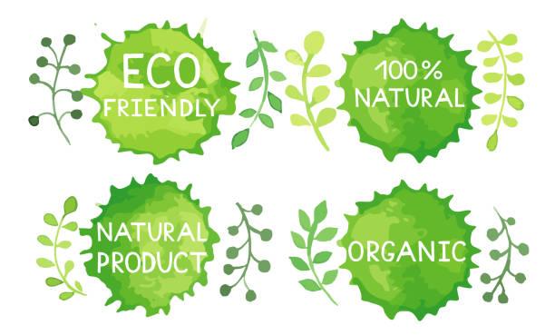 watercolor green logos set. - badge logo stock photos and pictures