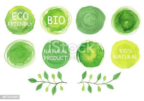 istock Watercolor green logos set. 857345082