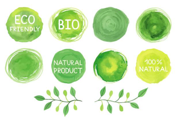 Watercolor green logos set. - foto stock